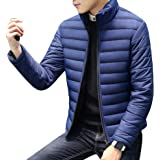 Men's Casual Thicken Stand Collar Solid Color Short Slim Fit Down Puffer Jacket Youth Winter Outdoor Padded Coat