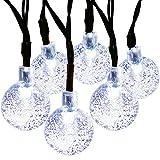 MagicLux Tech LS-016 20ft 30 boule guirlande lumineuses exterieur, guirlande led solaire, 8 mode scintillant imperméable arbre lumineux, lampe arbre led pour noel, mariage, jard (blanc)