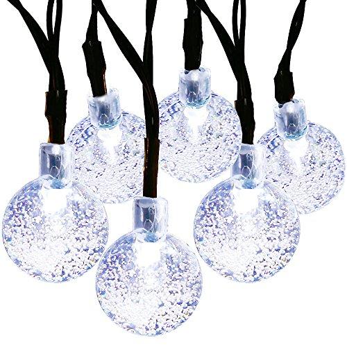 MagicLux Tech 30 LED Crystal Ball Solar Lichterketten, Garten, Zaun, Weihnachten, Urlaub, Haus, Hochzeit, Partydekoration Beleuchtung, 21FT, 8-in-1-Modus (weiss), Kunststoff, 0.2 W