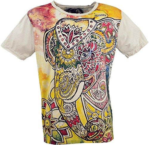 GURU-SHOP, Camiseta Espejo, Elefante/Vainilla, Algodón, Tamaño:XL, Camisetas Seguras