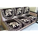 Griiham's 5 Seater Coffee Brown Sofa Cover with Gold Work(3+1+1) 90% Cotton 10% Polyster