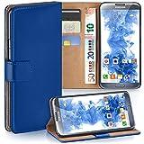 moex Samsung Galaxy Note 2 | Hülle Blau mit Karten-Fach 360° Book Klapp-Hülle Handytasche Kunst-Leder Handyhülle für Samsung Galaxy Note 2 Case Flip Cover Schutzhülle Tasche