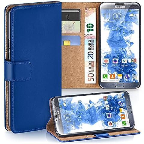 Samsung Galaxy Note 2 Hülle Blau mit Karten-Fach [OneFlow 360° Book Klapp-Hülle] Handytasche Kunst-Leder Handyhülle für Samsung Galaxy Note 2 Case Flip Cover Schutzhülle Tasche
