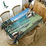 ZBGCD Tischwäsche 3D Gedruckt Tischdecke Couchtisch Esstisch Staubschutz Küste Riff Muster Tischdecke