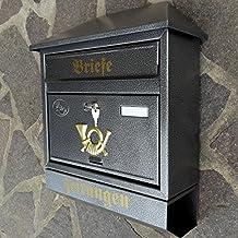 Wandbriefkasten Postkasten Briefkasten mit Zeitungsfach Gold M1