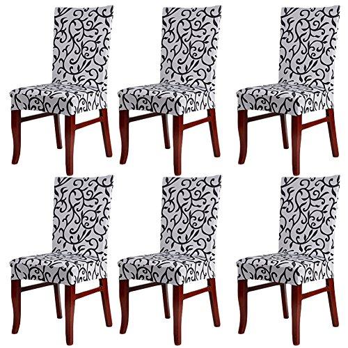 Confezione da 6coprisedia elasticizzati, lavabili e removibili per hotel, ristoranti, feste, sala da pranzo grayblack