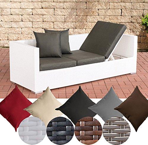 CLP Polyrattan Loungesofa Solano mit höhenverstellbaren Seitenteilen I Sonnenliege mit...
