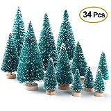 Moonvvin 34 Pcs Mini Sisal Schnee Frost Bäume Künstliche Weihnachtsbäume auf Holzbasen, Weihnachten Kleine Kiefer Party Dekorationen für DIY Craft Room Decor Home Tabletop Ornamente