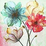 Festa, compleanno - Tovaglioli monouso - motivo: 'Ritratto di fiori - natura morta' - stile: estate - (2 set da 20 pz cad) - 3 strati - 33x33cm