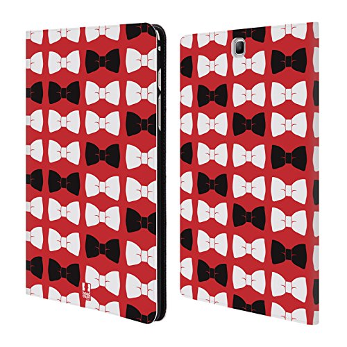 Head Case Designs Gentleman Bow Ties In Red Band Muster Brieftasche Handyhülle aus Leder für Samsung Galaxy Tab A 9.7