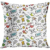 AORSTAR Throw Pillow Covers Cat Cute Doodle Bomb Fish Skull Abstract Animal Arrow Bolt Cover Fantasy Pillowcase Cushion