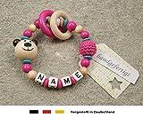 Baby Greifling Beißring geschlossen mit Namen | individuelles Holz Lernspielzeug als Geschenk zur Geburt & Taufe | Mädchen Motiv Bär in natur, pink