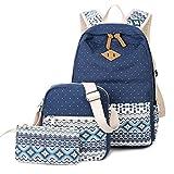 Donykarry 3 Teiliges Schultaschen-Set Canvas Schulrucksack + Umhängetasche + Mäppchen für Mädchen Damen Jugendliche (Dunkelblau)