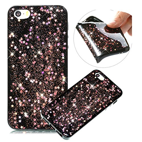 Coque iPhone SE,Coque iPhone 5S,Paillette Coque pour iPhone SE/5/5S,Surakey Bling Brillant Cristal Glitter strass Coque Silicone Étui Ultra Mince Housse pour iPhone 5S Coque de Protection en TPU avec Absorption de Choc Bumper et Anti-Scratch Etui Premium Semi Hybrid Crystal Clear Flex Soft Skin Souple Coque Etui en Silicone Téléphone Couverture TPU Cover Coque Housse Étui pour iPhone SE & iPhone 5 5S - Étoile Or Rose