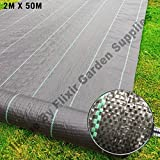 Elixir Gardens Elixirgardens® Ground Check 2m x 50m Heavy Duty Ground Control Cover Membrane Landscape Fabric