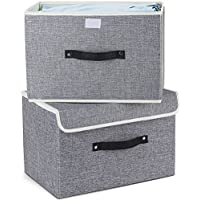 MEE'LIFE Storage Boxes Set of 2, Cotton Fabric Foldable Storage Bins Baskets with Lids and Handles Container Clothes Blanket for Books Toys DVDs Art and Craft Washing Laundry Organization(Light Grey)
