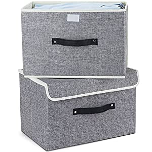 storage boxes set of 2 mee 39 life cotton fabric foldable storage bins baskets with lids and. Black Bedroom Furniture Sets. Home Design Ideas