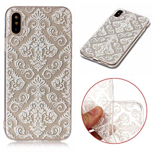 iPhone X Hülle, iPhone X Handyhülle, MSK® HandyTasche Back cover TPU Silikon Schutzhülle Telefonkasten Protective Tasche Für iPhone X - Donuts Weißes Muster