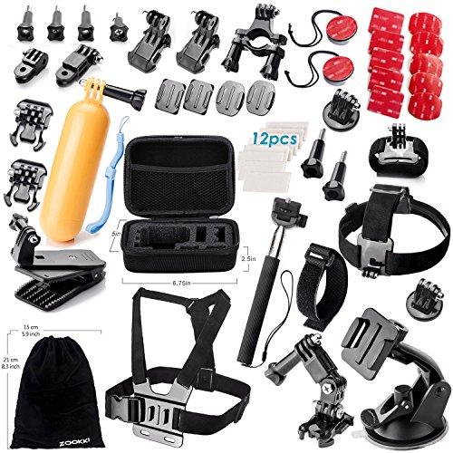 Zookki Accessori Kit per GoPro Hero 5 4 3+ 3 2 1 Black Silver and SJ4000 SJ5000 SJ6000, Accessori Macchina Fotografica di Azione per gli Sport Esterni, per Lightdow/Xiaomi Yi/WiMiUS/DBPOWER
