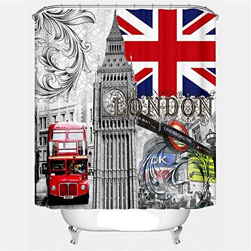 YLG® Badezimmer Duschen Duschvorhang Vorhang britische Flagge Muster Tuch Dekoration wasserdicht Schimmel Polyester , A , 180*220 (Streifen-krawatte Britische)