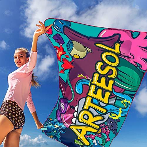 Arteesol Mikrofaser Handtuch schnelltrocknend (178x90cm 160x80cm 90x30cm) mit Tragetasche saugfähig Personalisiertes Strandtuch für Sport Fitness Yoga Schwimmen Reisen Baden