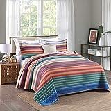 Unimall Tagesdecke Baumwolle Patchwork Bettüberwurf Landhaus Stil mit bunten Streifen pflegeleicht, 230cm x 250cm