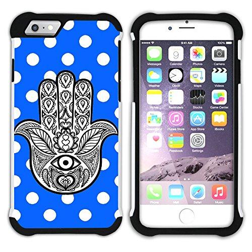 Graphic4You Hamsa Hand der Fatima Punktmuster Tupfen Muster (Wasserblau) Hart + Weiche Kratzfeste Hülle Case Schale Tasche Schutzhülle für Apple iPhone 6 Plus / 6S Plus Königsblau