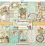 STAMPERIA SBBL43 Papierblock 10 Blätter doppelseitig Garten Papier Mehrfarbig 30.5 x 30.5 (12