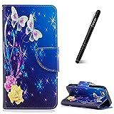 Slynmax Coque iPhone 5/5S/SE Étui en PU Cuir Fleurs et Papillons Motif Peint Mode...