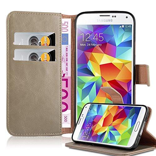 Cadorabo Custodia Libro per Samsung Galaxy S5 / S5 Neo in CAPUCHINO Marrone - con Vani di Carte, Funzione Stand e Chiusura Magnetica - Portafoglio Cover Case Wallet Book Etui Protezione
