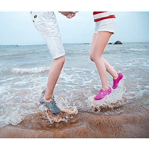 Minetom Unisexe Été Coloré Antidérapant Respirant Creux Sandales Chaussons Flip Flops Tongs Pluie Plat Chaussures Plage Rose Rouge