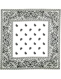 Bandana Tour de Cou Paisley USA Blanc - Airsoft - Paintball - Hip Hop - Moto - Biker - Country - Cowboy
