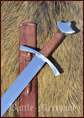 Schwert Hochmittelalter mit Lederscheide von Battle-Merchant - Ritterschwert Mittelalter Echt Metall