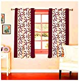 Optimistic Home Furnishing 2 Piece Polyester Floral Window Curtain - 5 ft, Maroon