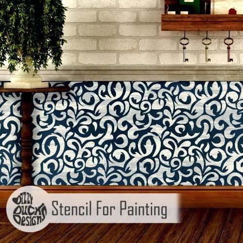 Fußboden Schablone für Malerei - Möbel Klein (Kleine Damast-schablonen)