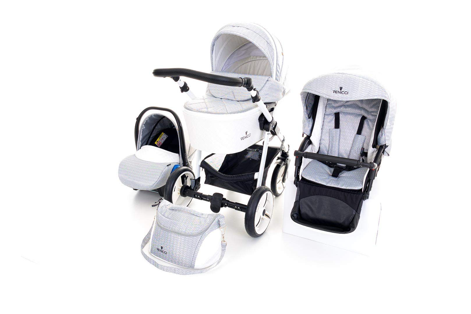 Venicci Pure 3-in-1 Travel System - Stone Grey - with Carrycot + Car Seat + Changing Bag + Apron + Raincover + Mosquito Net + 5-Point Harness and UV 50+ Fabric + Car Seat Adapters + Cup Holder  3 in 1 Travel System with included Group 0+ Car Seat Suitable for your baby from birth until 36 months 5-point harness to enhance the safety of your child 6
