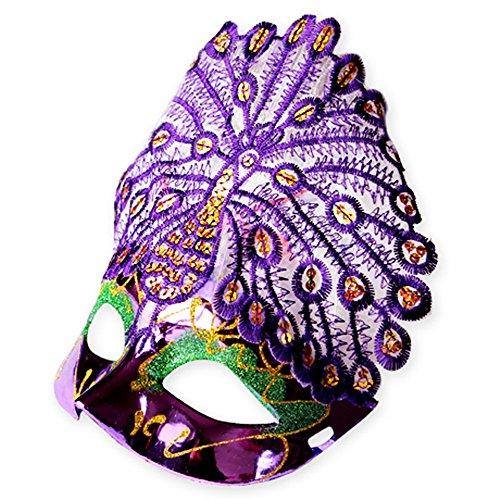Maskerade,Halloween Maske Venedig Prinzessin Make-up Tanz Party halb Gesicht Pfau Maske lila Masquerade