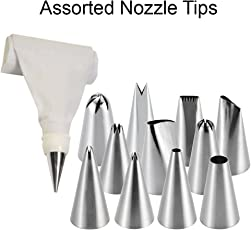Royals Stainless Steel Icing Nozzles & Cake Piping Bag With 1 Coupler For Decorating Cupcake Pastry Desserts(Set Of 12)(Assorted)