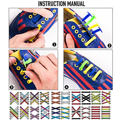 Coolnice No Tie Shoelaces for Adults DIY 16pcs- Environmentally safe Waterproof Silicon- Color of Red Viola