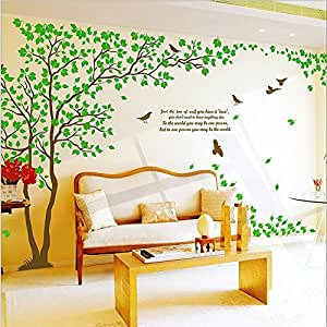 Wallstickersdecal giant green tree wall decal sticker pair for Decoration murale wish