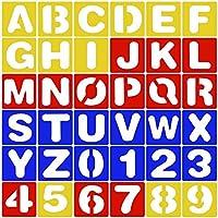 (36 pack) 26 Plantillas de Letras Alfabetos (A-Z) + 10 Plantillas de Números (0-9) de Plastico Multicolor para Pintura Diy Bricolaje
