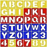 36 Stück Kunststoff Buchstaben Schablone Schriftzug Schablone Alphabet Schablone Set A-Z Nummer Schablone 0-9 10cm*10cm für Malerei Learning DIY Handwerk
