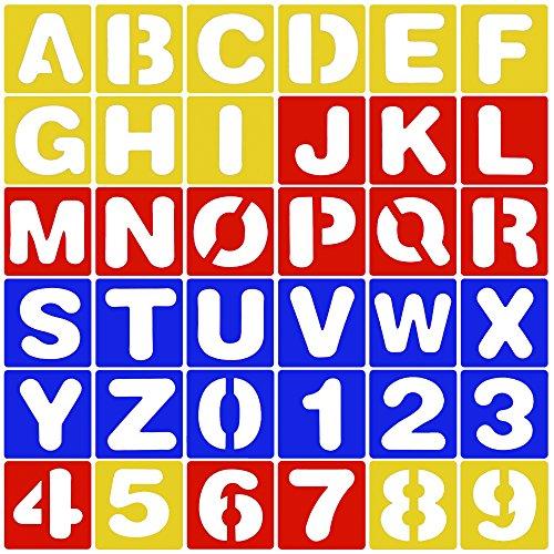 Buchstaben Schablone Schriftzug Schablone Alphabet Schablone Set A-Z Nummer Schablone 0-9 10cm*10cm für Malerei Learning DIY Handwerk ()