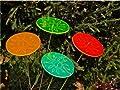 LISA DEKO Gartenstecker Sonnenscheibe rot mit filigraner Gravur - 12 cm mit 50 cm Metallstab - Sonnenfänger/Suncatcher von LISA DEKO bei Du und dein Garten