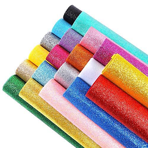 Sntieecr 20pezzi 20colori lucidi superfine glitter tessuto glitter fogli di feltro per fare bag, cappello, gioielli, artigianato, cucito e decorazioni per capelli (20.5x 30cm)