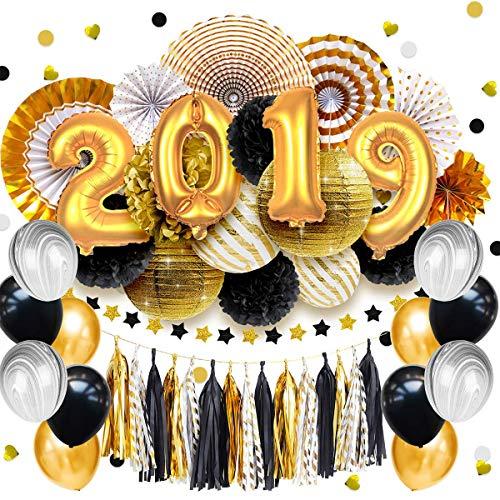 Nicrolandee 2019 Graduation Party Supplies - 2019 Zahlen Luftballons Mittelstück schwarz und gold Seidenpapier gestreift Papierlaternen zum Aufhängen Stempeln Papier-Fans Geburtstag Party Dekoration