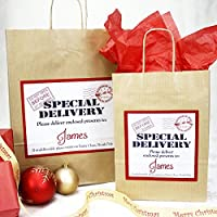 Personalised Christmas Gift Bag   Xmas Eve   Red Tissue Paper   Special Delivery Design