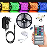 Led Strips Lights TOPSHARP Led Light Strips with Remote Waterproof Led Strip Full Kit + 5 meters 5050 RGB Led Lights Strip + 44 Key IR Remote + 12V 3A UK Charger (Built-In IC And Fuse)Power Supply