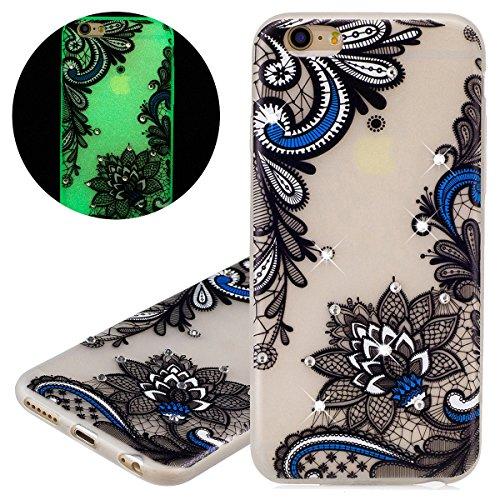 Custodia iPhone 6 Plus - Cover iPhone 6S Plus - ISAKEN Fashion Agganciabile Luminosa Custodia con LED Lampeggiante PU Pelle Portafoglio Tinta Unita Cover Caso per Apple iPhone 6 Plus(5.5), Luxury Pro tribal fiori