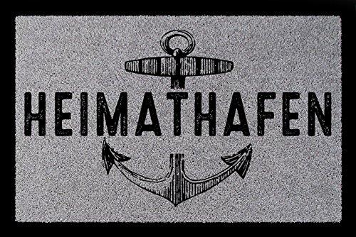 TÜRMATTE Fußmatte HEIMATHAFEN Maritim Eingang Einzug Flur Badezimmer Türvorleger Hellgrau